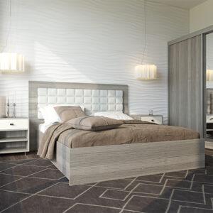 sovrum med bruna detaljer