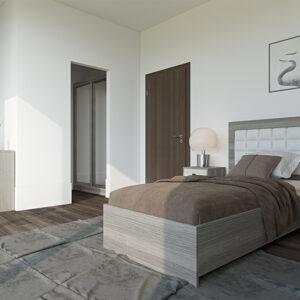 vitt och ljusgrått sovrum