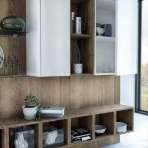 tvbänk och tillhörande hylla i vit vardagsrum