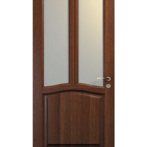 brun dörr med dubbla glas