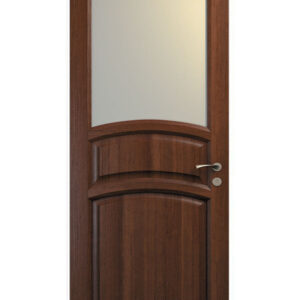 brun dörr med välvd ruta