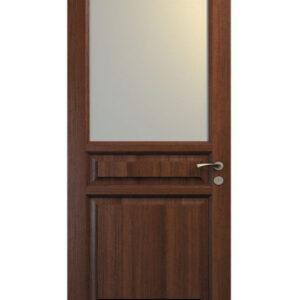brun dörr med rektangulär glasruta