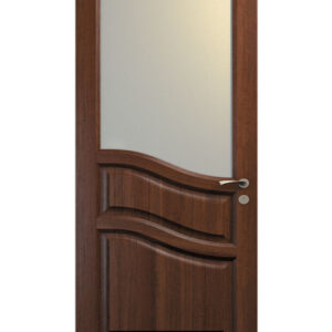 brun dörr med glasruta