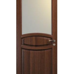 brun dörr med välvd glasruta
