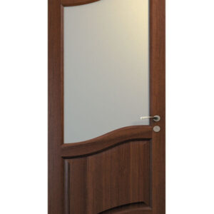 brun dörr med sned glasruta