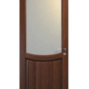 Brun dörr med stort glasfönster
