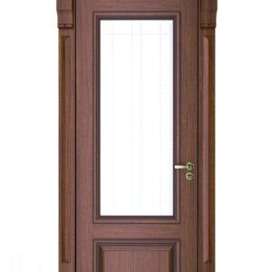 Brun dörr med glasfönster