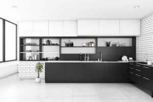 Köksluckor som är målade i köket