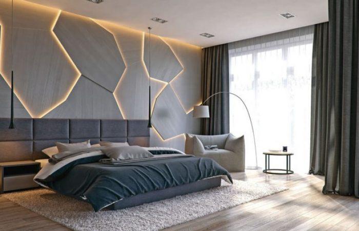 mörkgrått sovrum med lysande väggdetaljer
